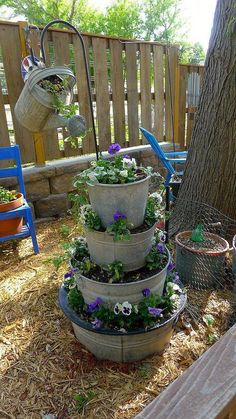 From the Shabby Creek Cottage Page on Facebook This is a great idea for small space gardening - stack up galvanized tubs/buckets.