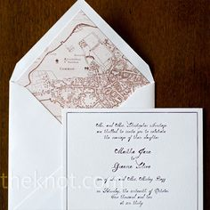 The envelope liner for their simple invitations was a map of historic Boston for a personal touch.