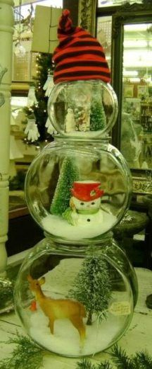 Snowpeople on pinterest snowman snowman ornaments and for Plastic fish bowls dollar tree