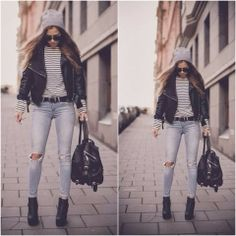 How to Chic: LEATHER JACKET - RIPPED DENIM JEANS - BEANIE
