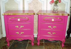 SOLD ..Victoria's Secret Inspired French Provincial Night Stand - Matching Pair. $300.00, via Etsy.