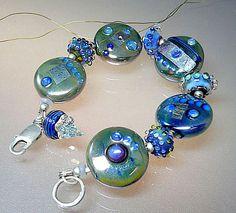 Silber blau Armband Handgewickelte Perlen und von manuelawutschke