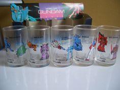 Printed Gundam Mobile Suit 5GLASSES Set Omake Suntory Japanese Drink Conpany