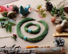 Nature Inspired Jewelry Teal Ceramic Necklace by LinenOnly on Etsy