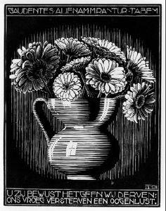 emblemata vase mc escher 1931 s Escher Paintings, Escher Art, Mc Escher, Escher Prints, Floral Illustrations, Illustration Art, Arte Black, Hieronymus Bosch, Graphic Artwork