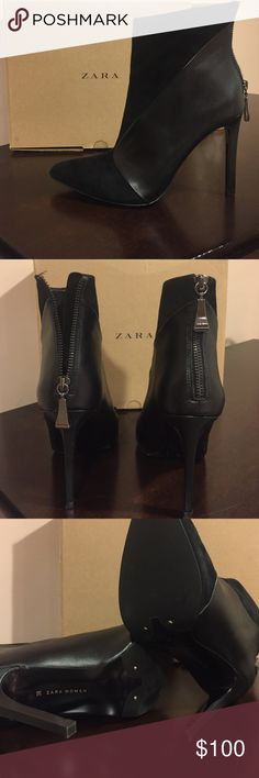 Zara heels Worn once and comes with original box and tags!! EUR 38/ USA 7 1/2 Zara Shoes Ankle Boots & Booties