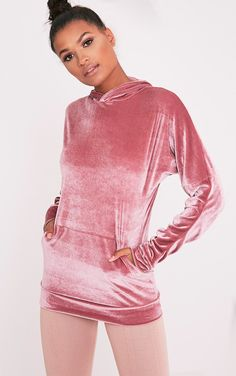 MAI DUSTY PINK VELVET POCKET FRONT RUCHED SLEEVE HOODIE. #dress #fashion #style #trend #onlineshop #shoptagr