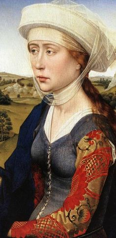 This is a painting of Mary Magdalene by van der Weyden. Notice the contrasting brocade sleeves that are pinned on with a straight pin. It was also period to lace them to garments with a matched pair of eyelets.