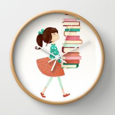 Library Girl Wall Clock