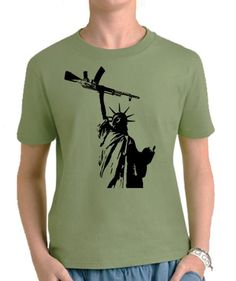785a5549e Statue of Liberty with AK 47 Youth T-Shirt. Professionally Screen Printed  Libertarian Kids Shirts and Clothing by Libertarian Country.