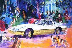 Rendezvous a la Corvette-Leroy Neiman -Painting  I had a White Vette like this once... looked different in my driveway... Humm?