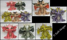 New Littles Handmade Polymer Clay Dragons by KabiDesigns