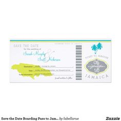 Save the Date Boarding Pass to Jamaica Card This is an original design by La Bella Rue. Please do not copy in anyway. Boarding pass wedding save the date. I've chosen a white linen cardstock however you may choose an alternate cardstock. Please Note Basic White has a Glossy front. Metallic might be nice as well. If the color scheme is not what you wanted please let me know and I'll recreate that for you. paula@labellarue.com Please make sure you proof your design before submitting your…