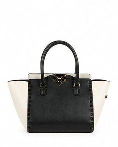 029ceba90b1939 Rockstud Bicolor Shopper Tote Bag, Black/Ivory by Valentino at Neiman  Marcus.