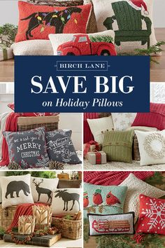 with red and green hues metallic embroidered details and soft hooked texture our selection of holiday pillows has an option for every home