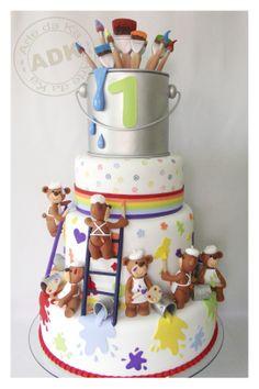 arte da ka - birthday - birthday cake - teddy bear & paint cake