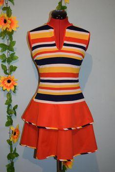 really cute vintage 60s70s stripes dress mod by jampops on Etsy