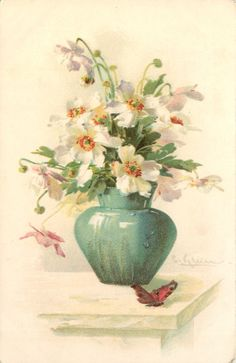 anemones in blue vase, butterfly on table