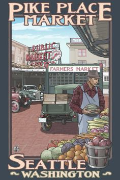 Shop Pike Place Market - Seattle, WA Travel Poster created by LanternPress. Personalize it with photos & text or purchase as is! Images Vintage, Retro Poster, Vintage Travel Posters, Vintage Signs, Vintage Ads, Vintage Style, Pike Place Market, Artist Canvas, Canvas Art