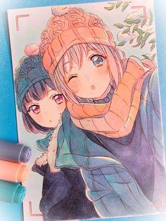 Ran and Moca Anime Drawings Sketches, Anime Sketch, Kawaii Drawings, Cute Drawings, Anime Girl Cute, Kawaii Anime Girl, Anime Art Girl, Anime Girls, Friend Anime