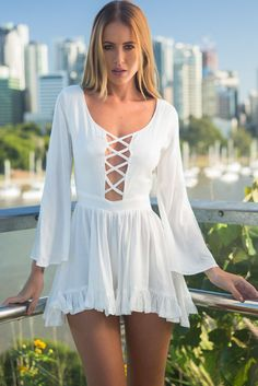 White Bell Sleeves Sexy Cutout Romper