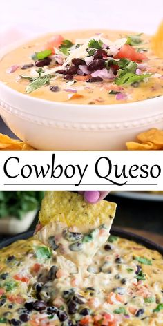 This loaded queso dip recipe is a perfect appetizer idea for a party or game day! It's easy to make in the Crock Pot or the Stove Top! You are in the right place about seafood appetizer snacks Here we offer you the most beautiful pictures[. Yummy Appetizers, Appetizers For Party, Easy Party Dips, Mexican Food Appetizers, Crock Pot Appetizers, Best Party Dip, Seafood Appetizers, Easy Party Food, Vegetarian Appetizers