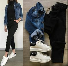 Boss Lady Outfit Idea For You:- Wanderlust Fashion . Mode Outfits, Jean Outfits, Trendy Outfits, Winter Fashion Outfits, Fall Outfits, Fashion Ideas, Teenager Outfits, Outfit Combinations, Korean Fashion