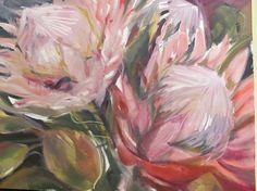 King Proteas by Janet Dirksen Simple Canvas Paintings, Paintings I Love, Flower Paintings, Painting Flowers, Oil Paintings, Protea Art, Flower Art, Art Flowers, Wild Flowers