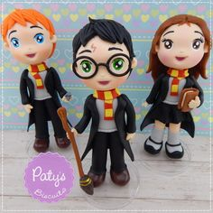 Kit 3 Miniaturas Harry Potter - Harry, Rony e Hermione - Paty's Biscuit