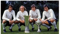 1972 UEFA Cup and Anglo-Italian Cup winners: Mike England, Phil Beal, Martin Peters and Cyril Knowles  of Spurs.