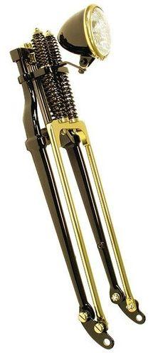 Paughco black & brass springer front end #harleydavidsontrikecustombobber