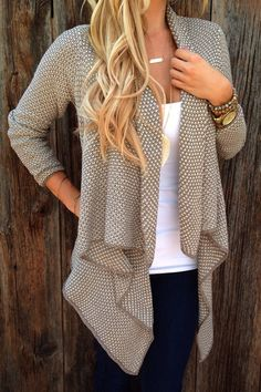 Asymmetrical Tiny Plaid Long Sleeve Cardigan