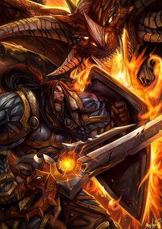 Varian Wrynn vs Dragon by SiaKim.deviantart.com on @deviantART