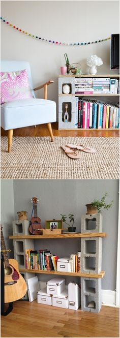 Concrete Blocks and Wooden Planks Bookshelves