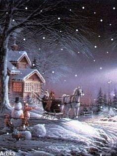 Christmas Scenery, Winter Scenery, Magical Christmas, Christmas Past, Cozy Christmas, Country Christmas, Winter Pictures, Christmas Pictures, Gif Noel