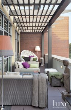 Contemporary Neutral Terrace With Woven Furniture