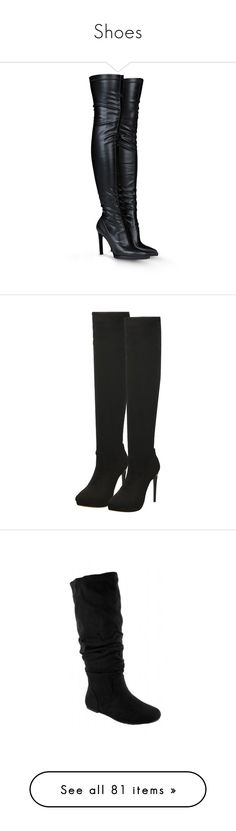 """""""Shoes"""" by maryemmanuel on Polyvore featuring shoes, boots, heels, botas, stella mccartney, black, black leather boots, high heel loafers, over the knee boots and stretch over the knee boots"""