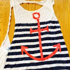 Backless Anchor Tank Blue stripes, red anchor design. Backless. Long. Tops Tank Tops