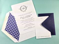 Letterpress christening invitations with matching letterpress thank you cards.. Navy gingham liners & crisp navy envelopes from postscriptpaper.com