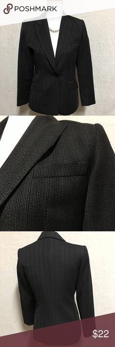 Style & Co Women's Black Blazer Size 4 Petite Black Blazer with gray stripes and pockets Very good condition Style & Co Jackets & Coats Blazers
