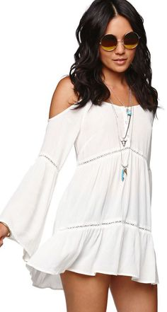 Cold shoulder boho dress.This is one of my dresses but to my knees & cream colored.