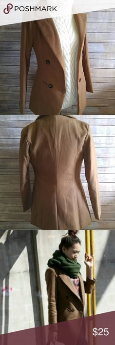 """Camel worsted wool jacket A dark, rich camel color. One button closes the jacket. This is marked a medium but is actually a U.S. size XS. There are no care tags but this is wool exterior, polyester lined.   16"""" pit to pit. 14.5"""" waist when button is closed.   Stock photos 3 and 4 to show fit. Jackets & Coats"""