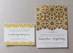 Mosaic Geometric Pattern Wedding Invitation #gold