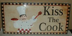 fat chef | FAT CHEF WALL PLAQUE PICTURE~SIGN~ITALIAN KITCHEN DECOR~PASTA~KISS THE ...