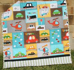 Vroom Baby Boy Quilt Toddler Vehicles Trucks Cars Airplanes Helicopters