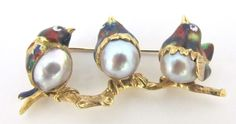 Vintage 18k Yellow Gold 3 Bird Brooch with Pearls and Painted-Awsome Enamel