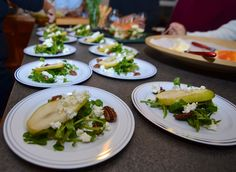 Watercress with pears, candied pecans, goat cheese drizzled with lemon avocado oil dressing