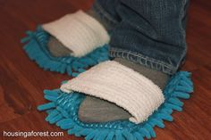 DIY Microfiber Cleaning Slippers   Housing a Forest - ha, I really want these. Great for corners, patio door sills...