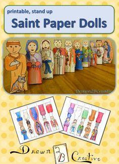 Saint paper Dolls for All Saints day crafts Catholic Saints For Kids, Catholic Religious Education, Catholic Crafts, Catholic Religion, Catholic Blogs, Catholic School, Teaching Religion, All Souls Day, All Saints Day