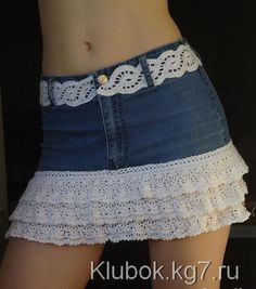 ergahandmade: Denim Skirt with Crochet Lace + Diagrams + Free Pattern